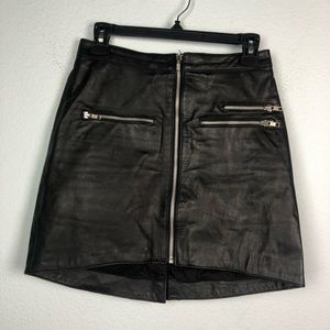 One Teaspoon leather Love Poison moto zip skirt